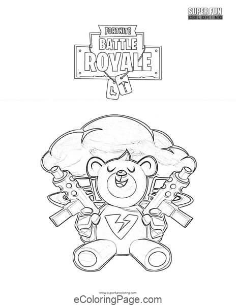 Fortnite Brite Bomber Bear Printable Coloring Page Coloring