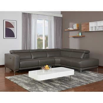 Redland Leather Power Reclining Sectional With Adjustable