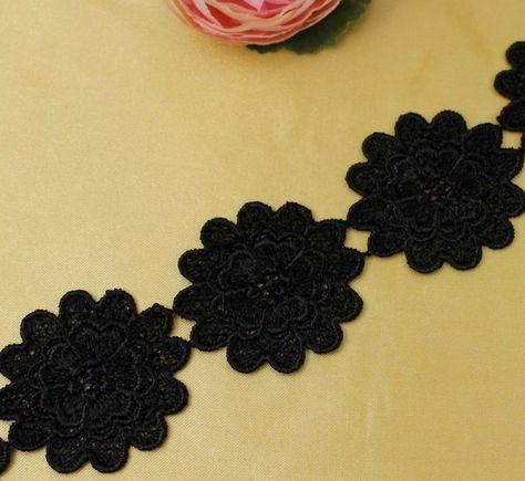 2 Yards Black Polyester Venise Lace Trim Flower Costume Sewing Applique Trims