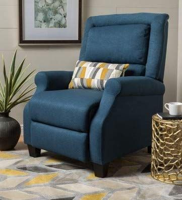 Recliners For Small Spaces Bedroom Chairs For Adults Dark Blue Fabric Round Arms Offer Extra Comfort In Your Small Space Bedroom Bedroom Chair Small Spaces