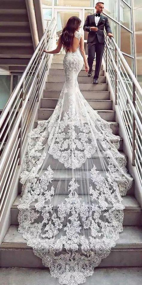 white wedding dress backless wedding dress mermaid wedding dress lace trailing wedding dress