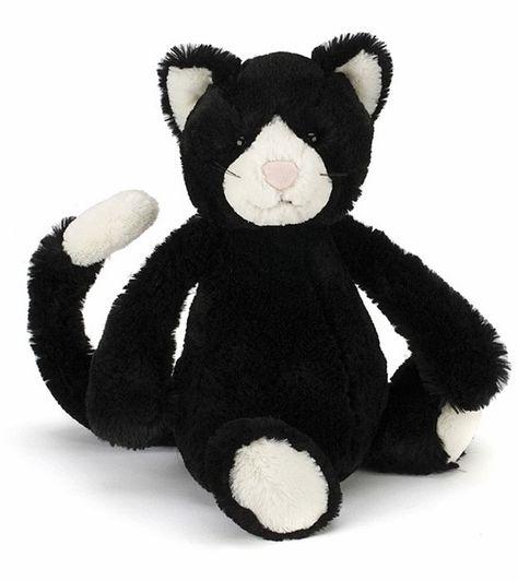 Jellycat Bashful Cat in Black & White, 12