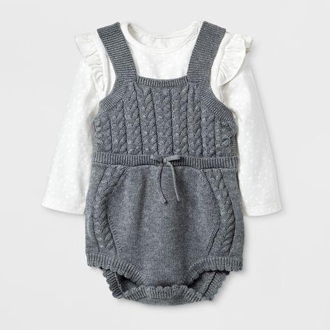 5c9c53b4bb56 Baby Girls  2pc Bodysuit and Sweater Romper Set - Cat   Jack Heather ...