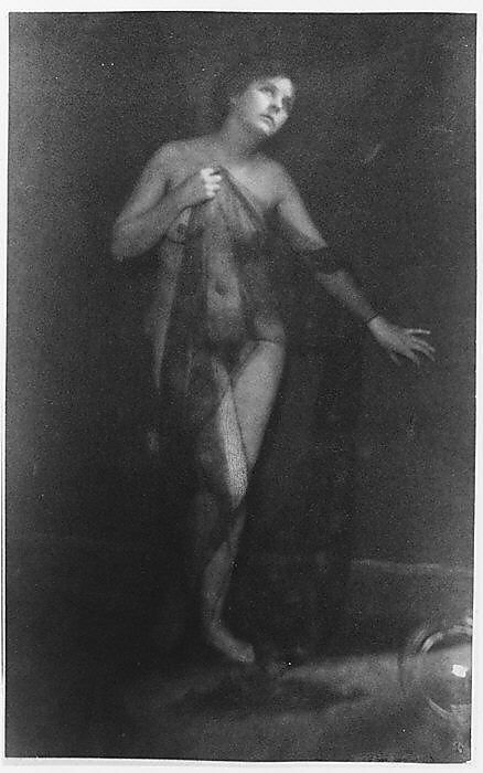 [Standing Female Nude Partially Draped in Gauze]  Clarence H. White (American, 1871–1925)