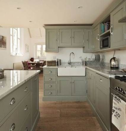 New Farmhouse Kitchen Green Cabinets Wood Countertops Ideas Green Kitchen Cabinets New Kitchen Cabinets Sage Green Kitchen