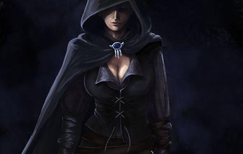 Hooded Fantasy Girl Art Girl Dark Cloak Hood Chest