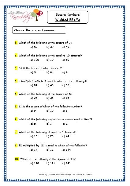 Grade 4 Maths Resources 1 12 Square Numbers Printable Worksheets Printable Worksheets Math Resources Printable Numbers