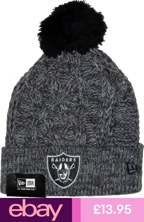 New Era Oakland Raiders Grey Knitted Bobble Hat Beanie NFL American ... 52e78af35
