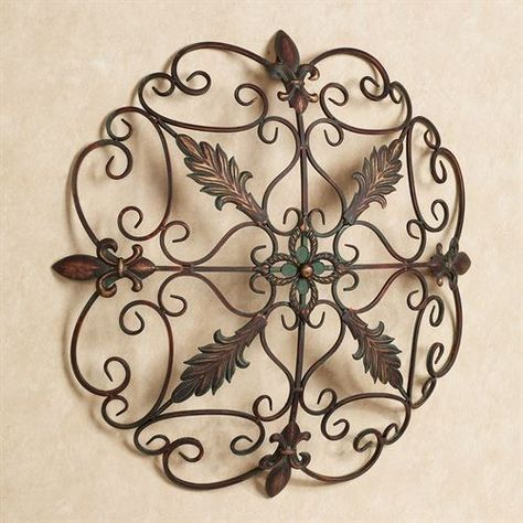 Wall Decor Round Vintage Rustic Art Sculpture Wrought Iron Medallion Grille