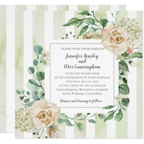 Summer Blush Stripes Roses Peonies Wedding Invitation #watercolor #greenery #modern #blushand #cream #Invitation #rustic #wedding #watercolor #floral #purple #pink #greenery #geometric #modern #vintage #roses #peonies #hydrangeas #summerwedding #springwedding #weddinginvitations