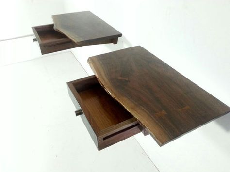 Matching Live Edge Floating Nightstands Mid by GRWoodworker