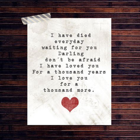 A Thousand Years - Christina Perri This song reminds me of the call by Regina Spector
