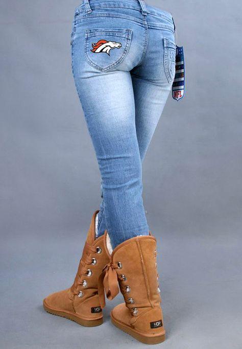 NFL Denver Broncos Women light blue fans stretch jeans  ID:983210802Price : $39