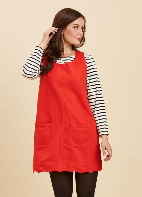 2bd1e8615484 Jennifer Scallop Edge Pinafore Dress – Red