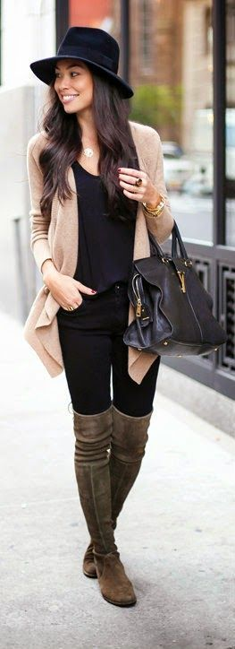 Over the knee boots, black jeans, light fawn cardigan and black fedora.  #boots
