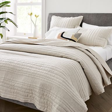 Modern Quilts Coverlets West Elm In 2020 Striped Duvet Covers Bed Linen Sets Quilted Sham