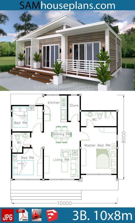 House Plans 10x8m With 3 Bedrooms Sam House Plans Arsitektur Rumah Indah Desain Arsitektur