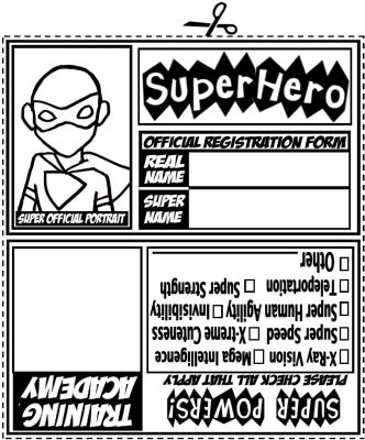 Superhero ID Card template - 2 will fit onto A4 Superheroes - membership id card template