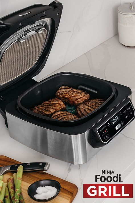 Grill Sizzle Sear True Char Grilled Flavors Indoors Virtually No Smoke Try The Ninja Foodi Grill Today Cooking Gadgets Cooking Soup Recipes Slow Cooker