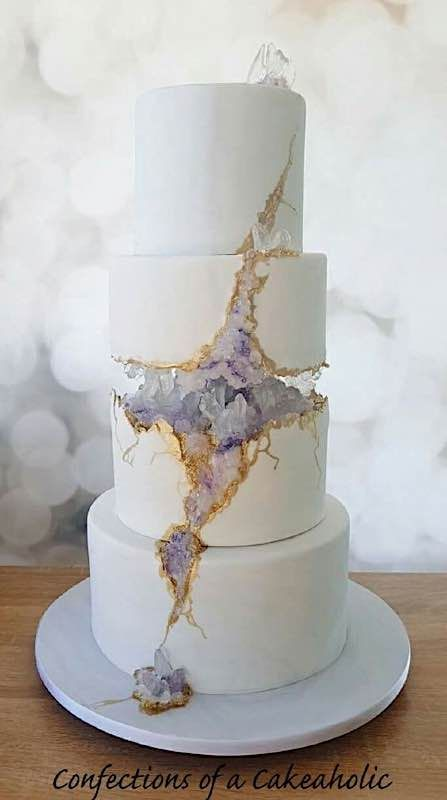 Sunday Sweets: The New & Improved Geode Cakes — Cake Wrecks<br> Bolo Fondant, Fondant Wedding Cakes, Fondant Cakes, Cupcake Cakes, Geode Wedding Cakes, Cake Cookies, Gorgeous Cakes, Pretty Cakes, Cute Cakes