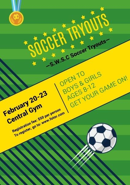 How To Design A Green Soccer Tryouts Poster Click For More