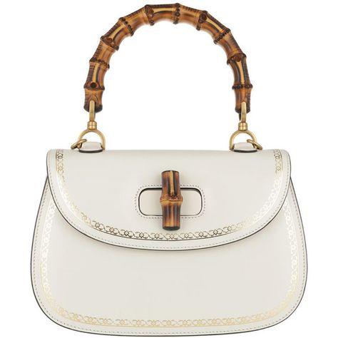 c467fa83d24 Gucci Handle Bag - Black Flame Print Bamboo Bag Natural White - in...  (119