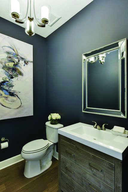 10 Paint Color Ideas For Small Bathrooms Homes Tre Blue Powder Rooms Bathroom Paint Colors Navy Blue Walls
