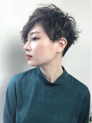刈り上げツーブロウェーブベリーショート Renjishi ビューティー