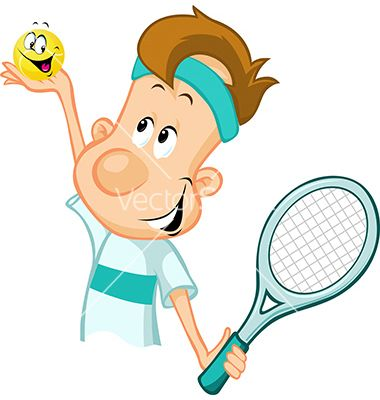 Tennis Player Holding A Tennis Ball And Racket Vector Image On Skolka
