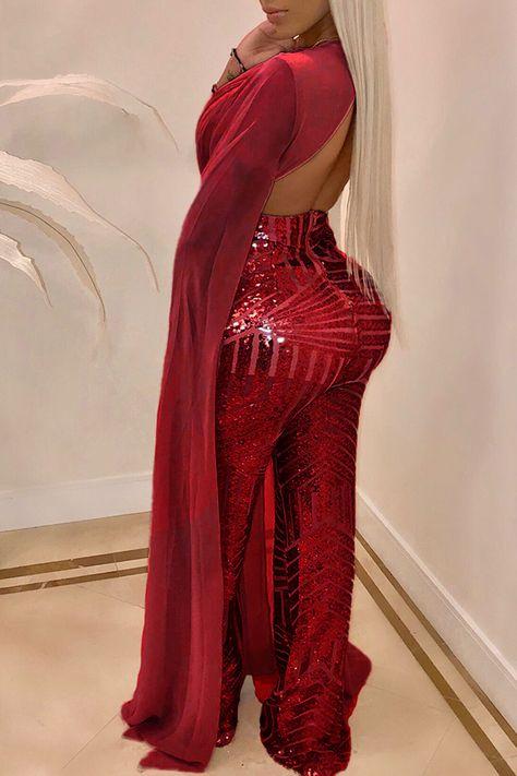 Trendy Sequined One-piece Jumpsuit Roaso Trendy Einteiliger Jumpsuit mit Pailletten – ROASO