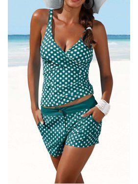Juniors Swimwear Walmart Com Plus Size Swimwear Slimming Tankini Tankini With Shorts