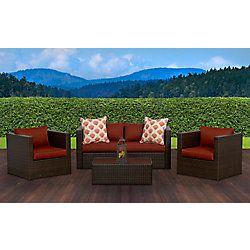 Sunset Patio Palisades 4 Piece Club Chair Patio Conversation Set