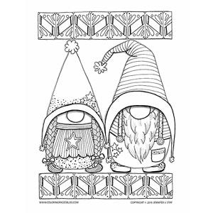 Christmas Gnome Clipart Black And White.Adult Coloring Pages Crafts Pattern Coloring Pages