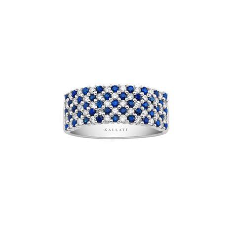 Kallati Blue Sapphire And 1 2 Ct Tw Diamond Ring Blue Diamond Jewelry White Gold Diamond Ring