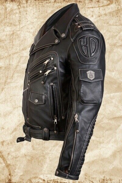 Mens Genuine Real Leather Biker Style Motorcycle Waistcoat Black Vest Plain