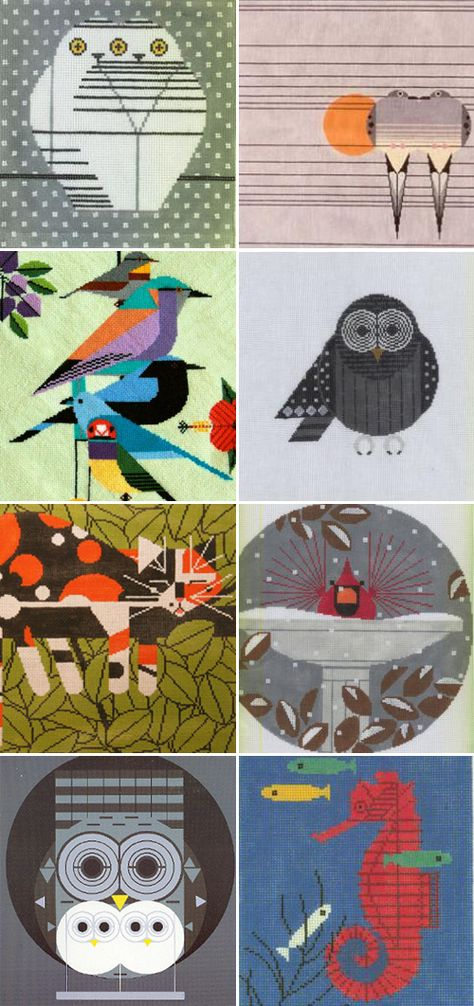 charley harper needlepoint - these are GORGEOUS!