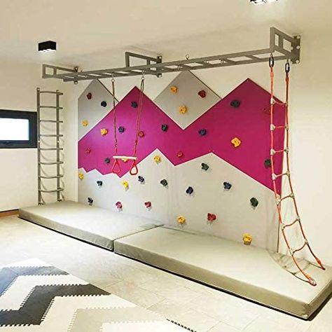 Playroom Design, Playroom Decor, Kids Room Design, Playroom Ideas, Climbing Wall Kids, Indoor Jungle Gym, Indoor Playroom, Kids Basement, Gym Room
