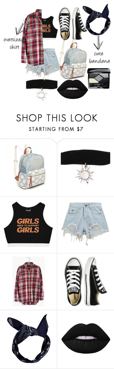 """""""oversized shirt FTW"""" by lit-anonymous ❤ liked on Polyvore featuring Red Camel, Minga, Chicnova Fashion, Madewell, Converse, Boohoo, Lime Crime and Christian Dior"""
