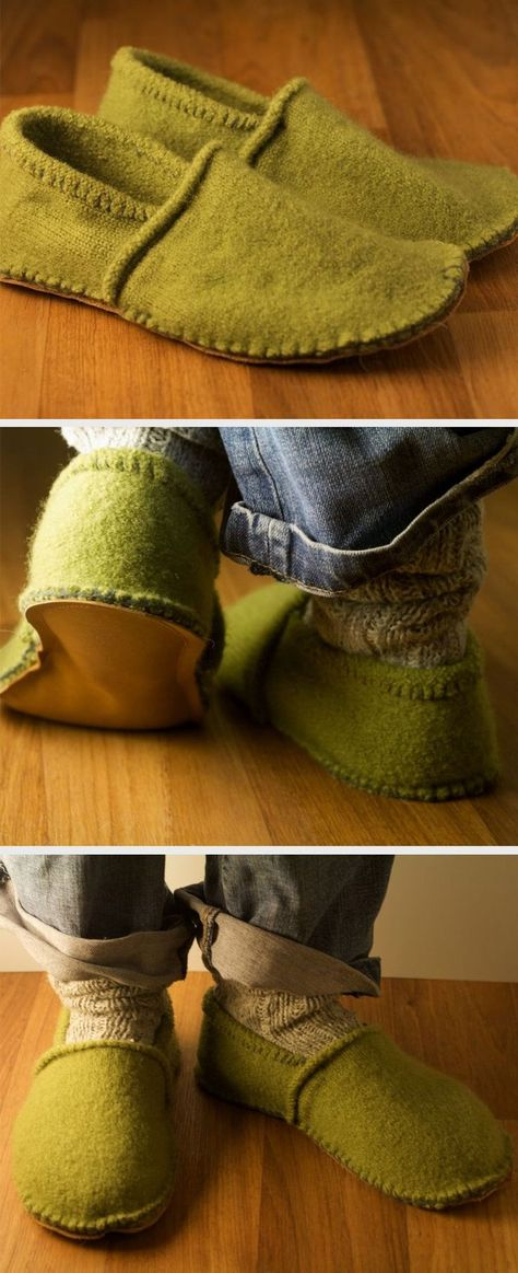 Slippers From Your Old Woolly Jumper Shrunk your favorite sweater in the wash? turn it into a pair of cozy slippers!Shrunk your favorite sweater in the wash? turn it into a pair of cozy slippers! Wooly Jumper, Old Sweater, Sewing Hacks, Sewing Crafts, Sewing Projects, Upcycled Crafts, Fabric Crafts, Sewing Ideas, Diy Projects