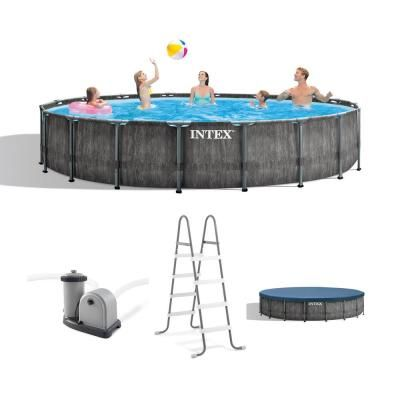 Intex 18 Ft Round 48 In Deep Hard Side Greywood Prism Steel Frame Pool Set With Cover Ladder And Pump 26743eh The Home Depot Above Ground Swimming Pools Intex Backyard Pool Parties
