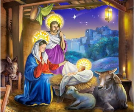 Jesus Birth Painting Stars Sheep Bethlehem Joseph Mary Cow