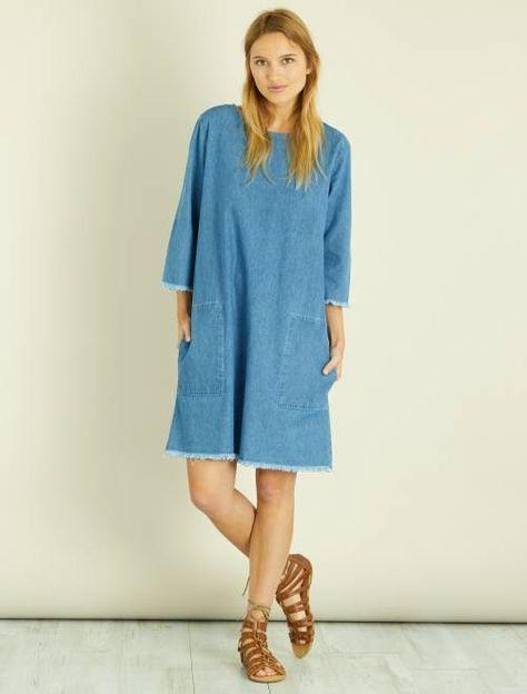Vestito taglio dritto denim blu Donna - Kiabi  3ffa735c6d6