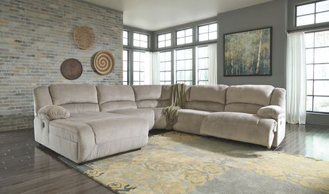 Toletta 5 Piece Sectional Granite Sectional Sofa With Recliner Reclining Sectional