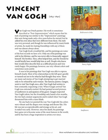 Van Gogh | Kunst arbeitsblatt, Schulkunstprojekte
