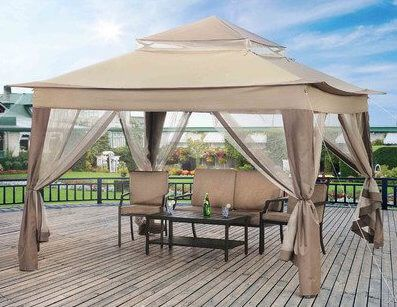 This Simple Pop Up Gazebo Has A Two Tiered Roof That Lends It A Lot More Style Than A Simple Flat Roof Like Most Canvas Portable Gazebo Canopy Outdoor Gazebo