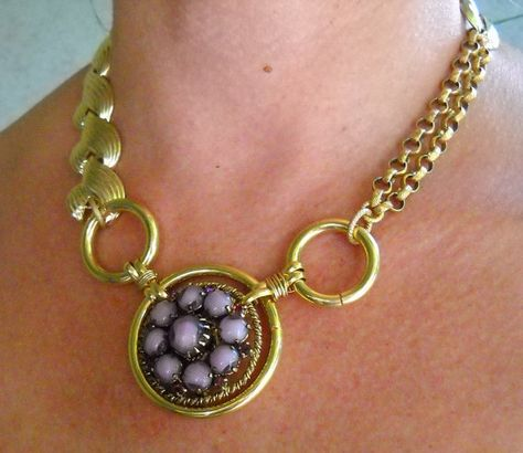 SOLDRemnants  Necklace  All Vintage Repurposed Brooch by BirdsOf3, $50.00