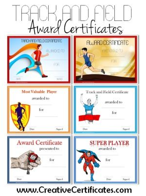 Track and Field Award Certificate Templates Sport Certificates - award certificate