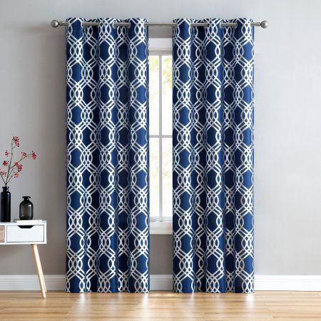 Mainstays Navy Silver Infinity Geometric Window Curtain Panel Set Of Two Size 38 Inch X 84 Inch 2 Pcs Cool Curtains Curtains Panel Curtains