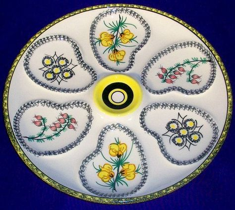 Rare Old Quimper Floral Decor Oyster Plate Via Etsy Oyster Plates French Pottery Oysters