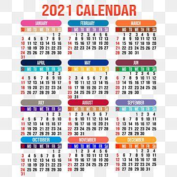 Psd School Calendar 2021 Editable Colorful 2021 Calendar Design, 2021, Calendar, Design PNG